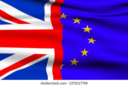 United Kingdom and the European Union Flags Brexit Concept.
