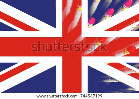 United Kingdom flag with atomic rockets in the background. 3d illustration