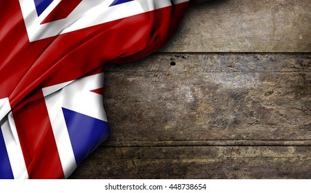united kingdom flag on wooden table, high contrast and over light [3D Illustration]