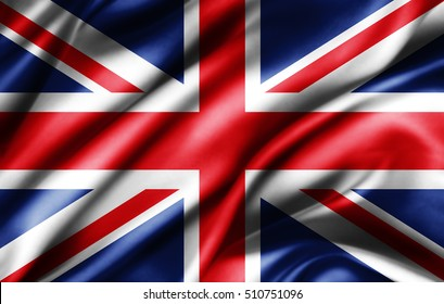 United Kingdom flag of silk -3D illustration
