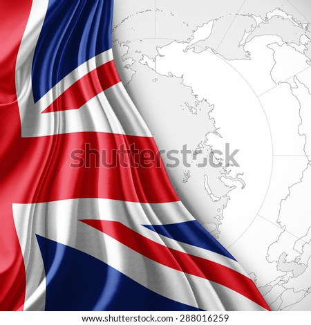 United Kingdom On The World Map.United Kingdom Flag Silk World Map Stock Illustration 288016259