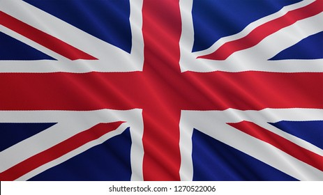 United Kingdom flag is waving 3D illustration. Symbol of UK on fabric cloth 3D rendering in full perspective.