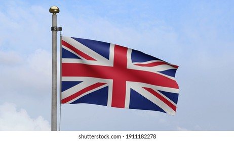 United Kingdom flag waving in wind with blue sky clouds. Britain banner blowing, soft and smooth silk. Cloth fabric texture ensign background. Use for national day and country occasions concept.