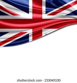 United Kingdom flag and white background
