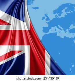 United Kingdom  flag and world map background