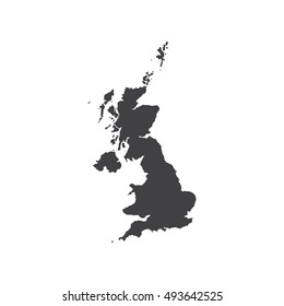United Kingdom of Great Britain map silhouette illustration on the white background.  illustration