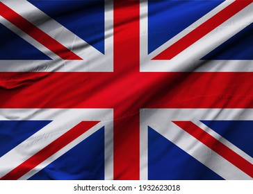 United Kingdom of Great Britain and Northern Ireland flag blowing in the wind. Background texture. London. 3d Illustration. 3d Render.