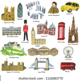 United Kingdom land mark and Westminster Abby, Mary Axe, William Shakespeare, Buckingham Palace, British guard, phone box, London Eye, Tower Bridge, hand drawn in watercolor on white background.
