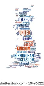 UNITED KINGDOM map words cloud of major cities with a white background