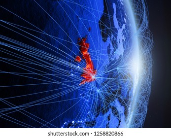 United Kingdom on blue digital planet Earth with network. Concept of connectivity, travel and communication. 3D illustration. Elements of this image furnished by NASA.