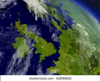 United Kingdom with surrounding region as seen from Earth's orbit in space. 3D illustration with highly detailed planet surface and clouds in the atmosphere. Elements of this image furnished by NASA.