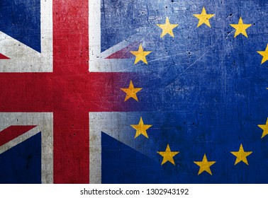 United Kingdom (UK) and European Union (EU) flags on the grunge metal background - Brexit