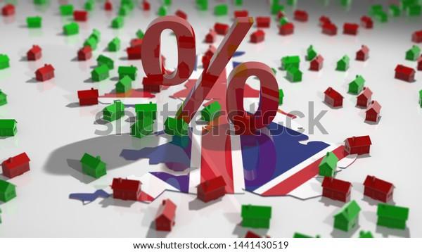 United Kingdom UK Real estate housing property market mortgage interest rates - Conceptual 3D illustration render