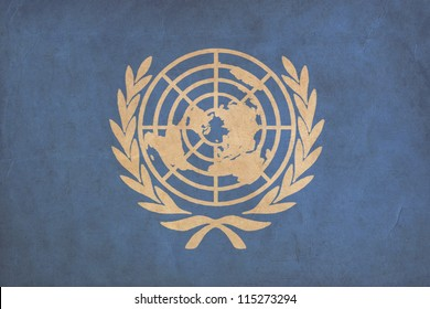 United Nations flag drawing ,grunge and retro flag series