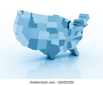 United states of ameria 3d map