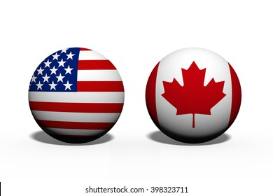 The United States of America and Canada working together, Two globes with a flag of the United States and Canada isolated on white