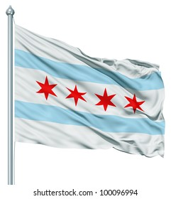 United States of America Chicago city flag fluttering in the wind