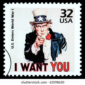 UNITED STATES AMERICA - CIRCA 1985: A postage stamp printed in the USA showing Uncle Sam, circa 1985