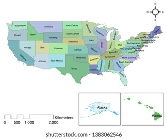United States of America colorful map showing states boundary along with scale. There are fifty states in the map.