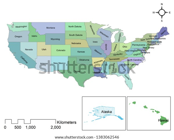 United States America Colorful Map Showing Stock ...