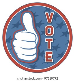 United States of America Elections pin (badge, hand showing thumbs up)