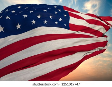 United States Of America Flag, (America) Flag design and presentation study & 3D Rendering