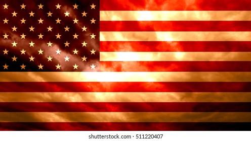 United States of America flag with grunge dark orange red burning fire effect illustration background.