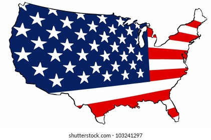 United States of America Flag Map