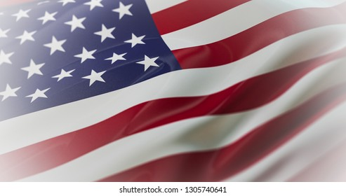 United States of America flag printed on silk in the wind. American flag. High quality 3d illustration