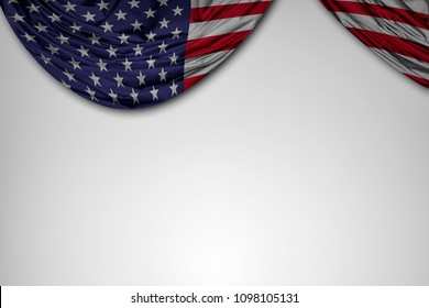 United States of America flag with white background and wave