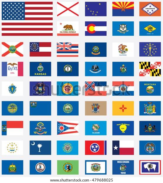 Ein Us Bundesstaat Flaggen Sammlung Stockillustration 479688025