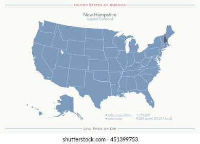 United States of America isolated map and New Hampshire State territory. USA political map illustration. geographic banner design. travel concept