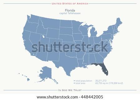 Political Map Of Florida.United States America Isolated Map Florida Stock Illustration