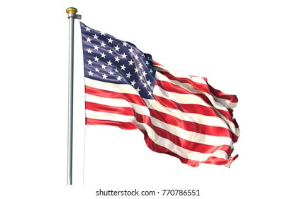 United States of America isolated on white background waving flag. Country flag