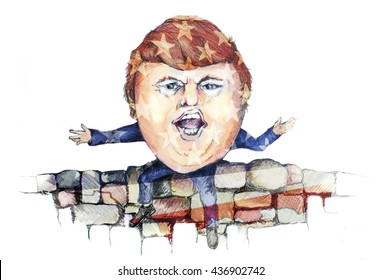 UNITED STATES OF AMERICA, JUNE 2016- Cartoon of Republican Presidential Candidate Donald Trump depicted as Humpty Dumpty Atop his Proposed Mexican Border Wall