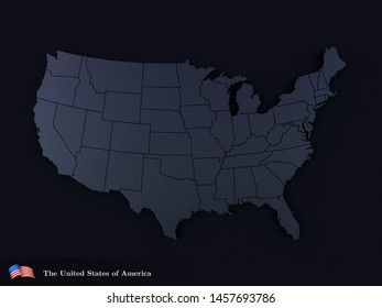 United States Of America map in black color. Realistic 3d render of USA territory. Country poster for travel materials, print, banner and web. Flag and text.