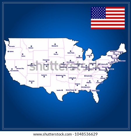Map Of United States Of America With Cities.Royalty Free Stock Illustration Of United States America Map Map
