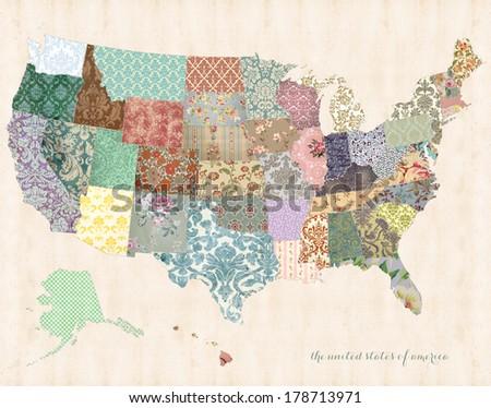 United States America Map On Linen Stock Illustration 178713971 ...