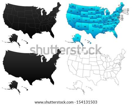 United States America Maps Flat Borders Stock Illustration 154131503 ...