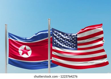United States of America and North Korea National Flags Waving, Blue Sky, 3D Illustration