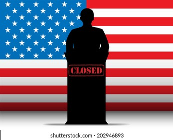 United States of America  Shutdown Closed Speech Tribune Silhouette with Flag Background