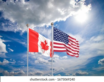 United States of America vs Canada. Thick colored silky flags of America and Canada. 3D illustration on sky background. - Illustration
