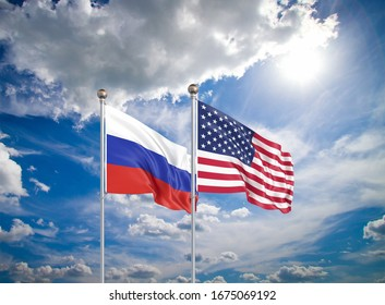 United States of America vs Russia. Thick colored silky flags of America and Russia. 3D illustration on sky background. - Illustration