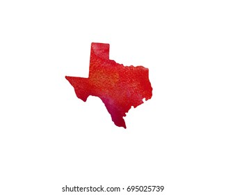 United States Of America. Watercolor texture. Texas.