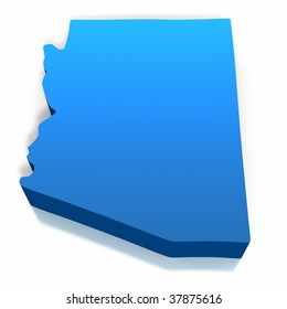 United States Arizona Map Outline on a white background. Clipping path included.