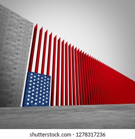 United States border wall and American immigration and USA refugee crisis concept as barrier or steel slat fence shaped as a US flag as a social issue or illegal immigrants as a 3D illustration.