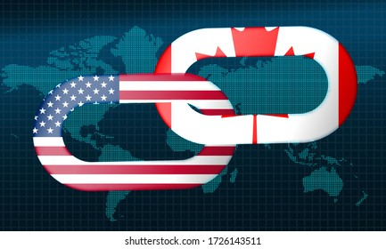 United States and Canada with chain., 3d rendering