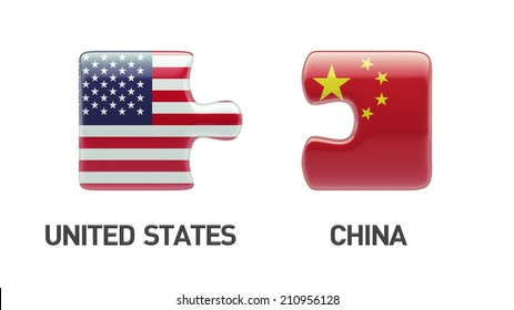 United States China High Resolution Puzzle Concept