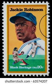 UNITED STATES - CIRCA 1975: A postage stamp printed in the USA showing Jackie Robinson, circa 1975
