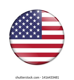 United States country on a flag badge button isolated over white 3D Illustration